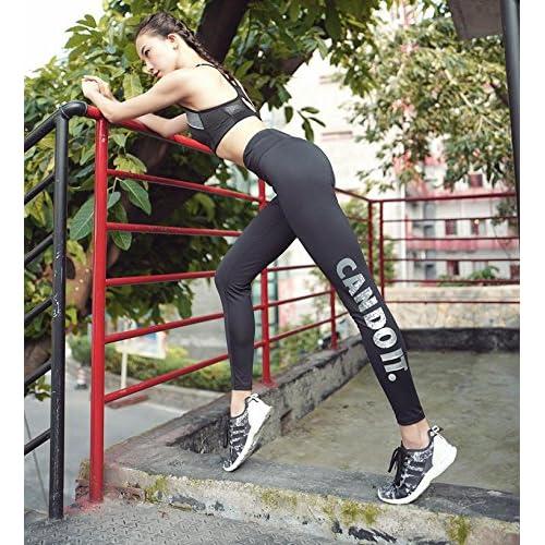 Erica Femmes Power Stretch taille moyenne Yoga Pantalon bronzage lettre en cours d'exécution Fitness collants Leggings