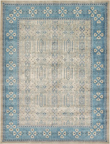 Luxury Vintage Persian Design Khatoon Rug Beige 9' x 12' St.George Collection Area Rugs from A2Z Rug