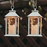 """14"""" Tall Christmas Candle Lantern with 4 Hours Timer.30 LEDs Copper Wire String Light (3 AAA Batteries Inclulded…"""