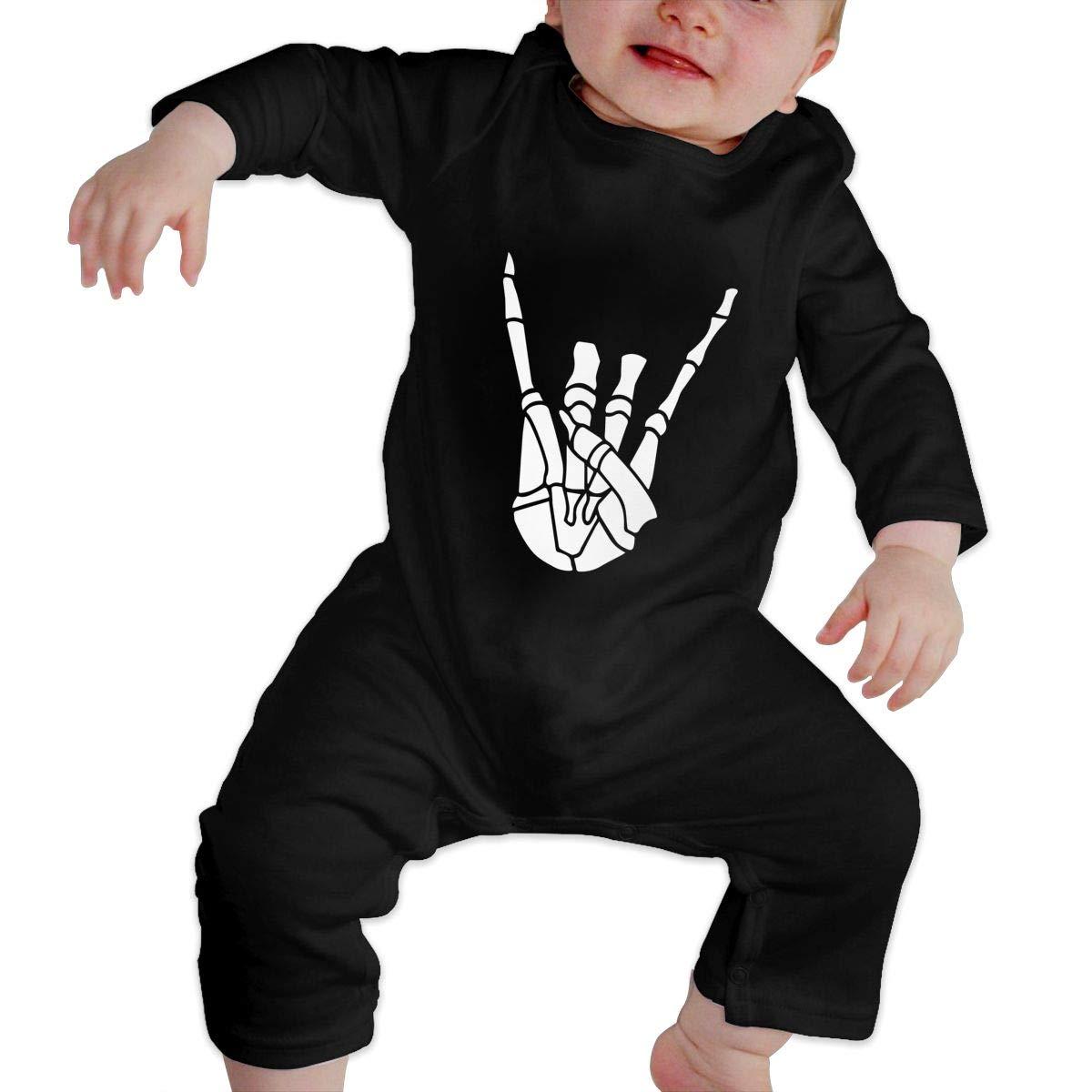 Newborn Baby Girls Boys Long Sleeve Jumpsuit Warm Skeleton Rock Cotton Jumpsuit