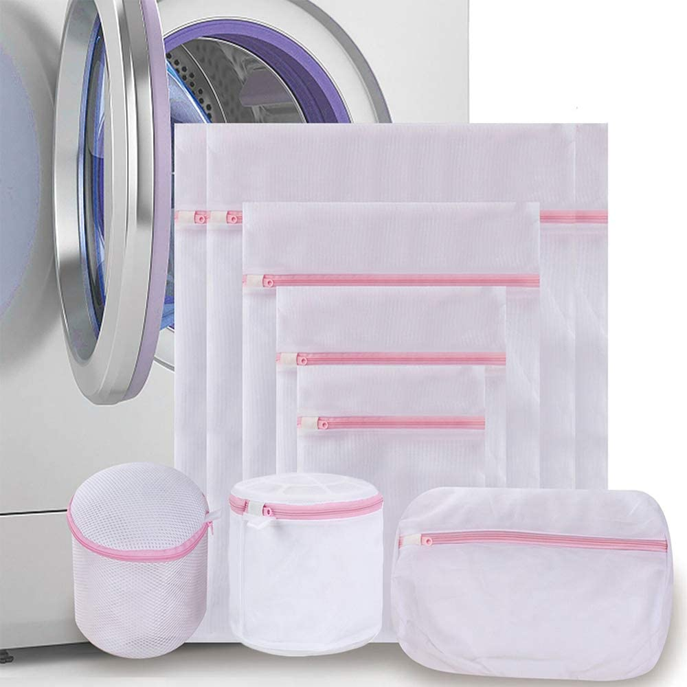 Qianchengda Trading Co., Ltd. Mesh Laundry Bags for Washing Machines, Clothing Wash Bags with Zips, Travel Storage Clothes Laundry Bags for Delicates, Bra, Underwear, Blouse, Stocking, 8 Pack