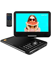 """APEMAN Upgraded 12.5"""" Portable DVD Player with Built-in Rechargeable Battery SD Card and USB AV IN/OUT with 10.5'' Swivel Screen Supported Direct Play in Formats AVI/RMVB/MP3/JPEG"""