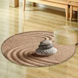 Small round rug Carpet japanese zen stone garden relaxation meditation simplicity and balance concept  door mat indoors Bathroom Mats  Non Slip -Round 24''