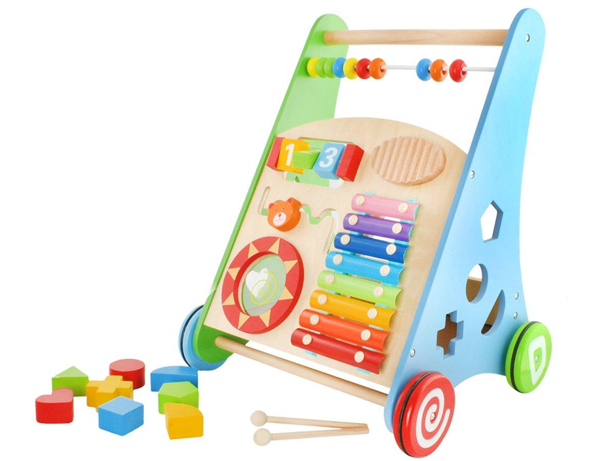 Iso Trade Lauflernwagen aus Holz Baby Walker Gehfrei Lauflernhilfe Steckspiel Gummiräder Zubehör #4624
