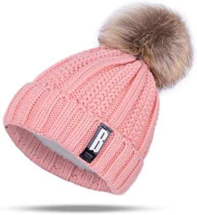 ARHSSZY Winter Pom Poms Ball Hat for Women Girl 's Knitted Cap Thick Skullies  Beanies at Amazon Women's Clothing store