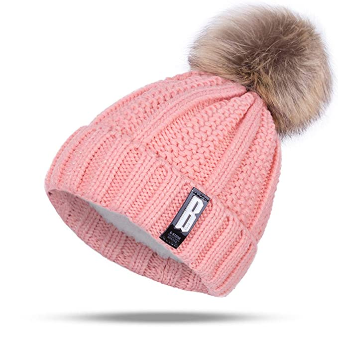 491e845fe4c ARHSSZY Winter Pom Poms Ball Hat for Women Girl  s Knitted Cap Thick Skullies  Beanies at Amazon Women s Clothing store