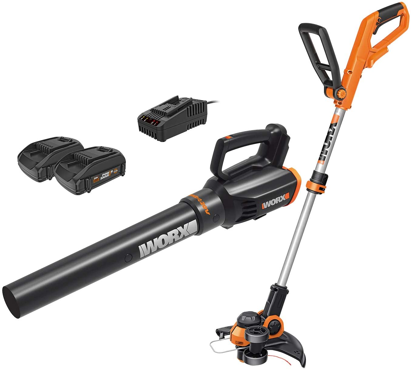 WORX Cordless String Trimmer and Blower WG929.1 Combo, 20V 2 Batteries, Grass Weed Edger : Garden & Outdoor