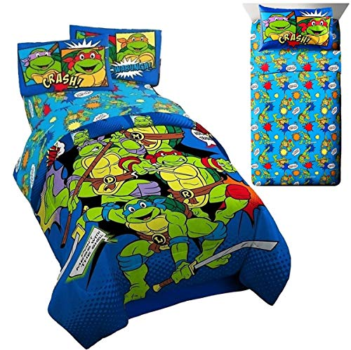 Ninja Turtles (TMNT) Teenage Mutant Retro Twin Bedding (Twin/Full Comforter + 3pc Twin Size Sheet ()