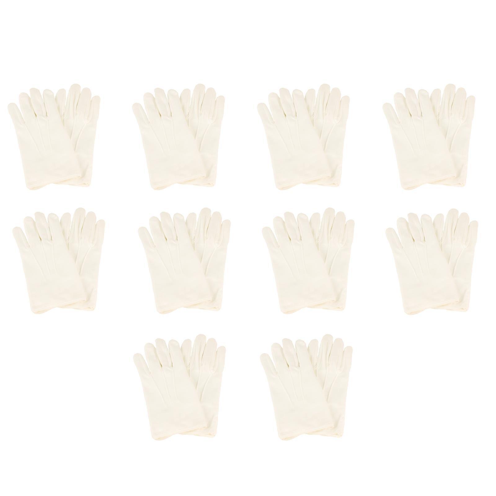 Men's Matte 100% Cotton Stretchy Wrist Plain Blank Thin Gloves White 10 Pair X-Large