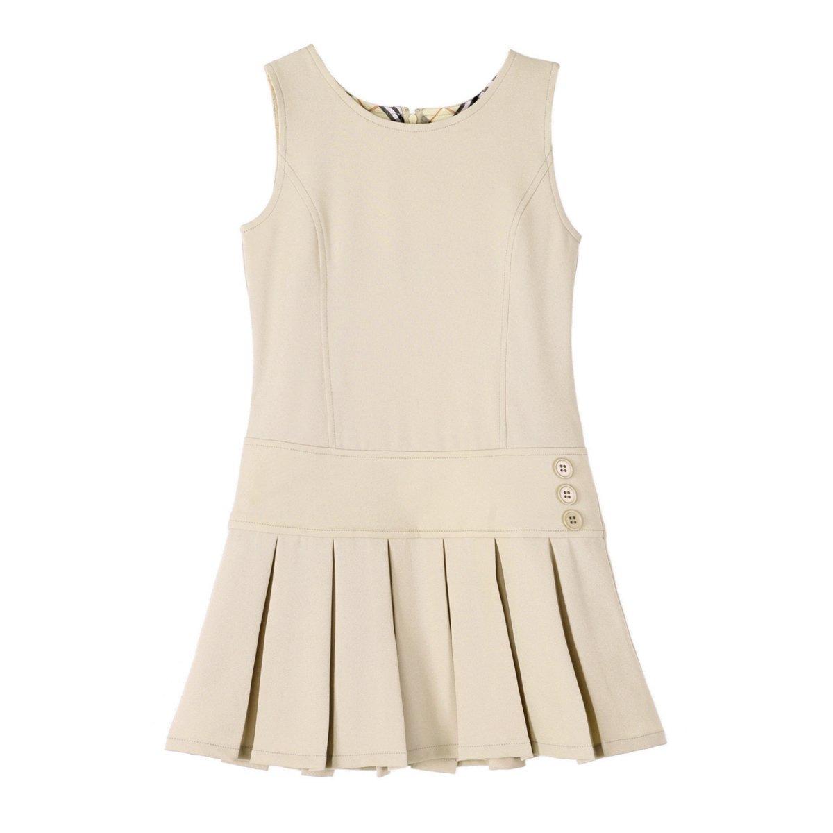 Bienzoe Girl's Stretchy Pleated Hem School Uniforms Jumper Khaki 5