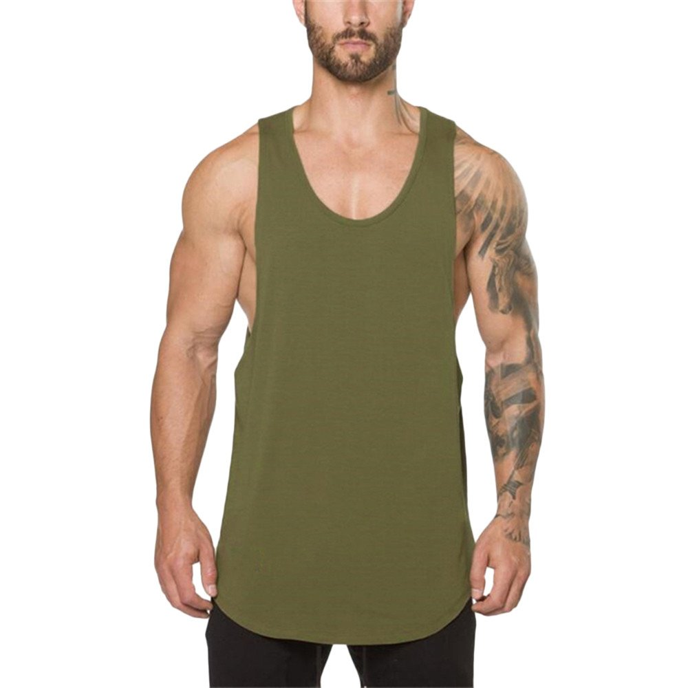 Pitauce Tank Tops for Men Sleeveless Tee Shirts for Men Men's Muscle Gym Workout Tank Tops Bodybuilding T-Shirts Army Green