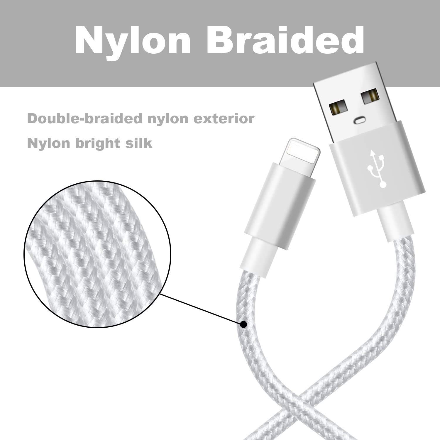Mfi/_Certified 3Pack 10ft Nylon Braided High Speed USB Charging Cord Compatible with iPhone 11//XS//XR//X//8//7//6//5//iPad-Silvergray iPhone Charger Cable