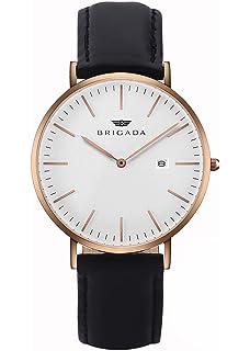 513b055ee281 BRIGADA 高級 薄い 時計 メンズ ブランド 人気、ブラック ファッション 上品 腕時計 メンズ ブランド 人気、