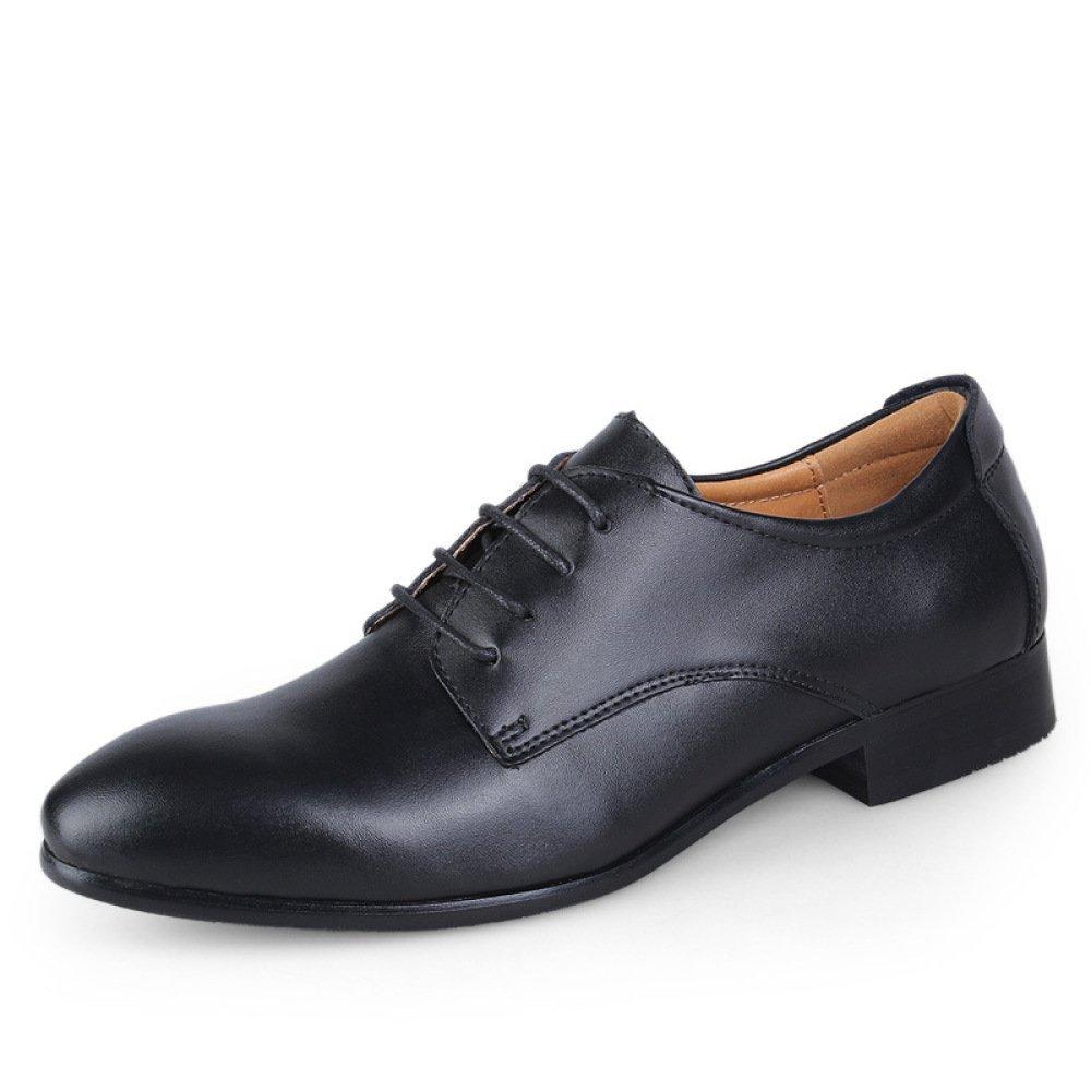 HGDR Zapatos De Cuero De Punta Estrecha De Los Hombres con Cordones Derby Oxford Zapatos De Boda con Forma De Vestido Formal,Black-EU46 EU46|Black