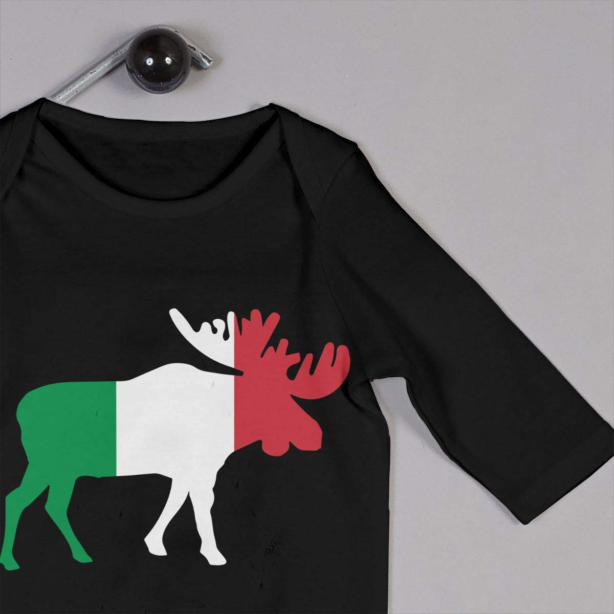 A1BY-5US Infant Babys Cotton Long Sleeve Italian Flag Moose Baby Clothes Funny Printed Romper Clothes