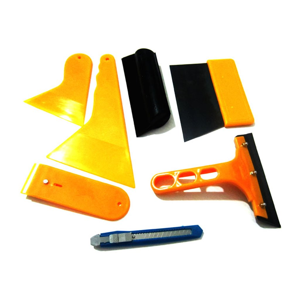 Techtongda 7 in 1 Vehicle Glass Protective Film Car Window Wrapping Tint Vinyl Film Installing Tool Squeegees, Scrapers, Film Cutters