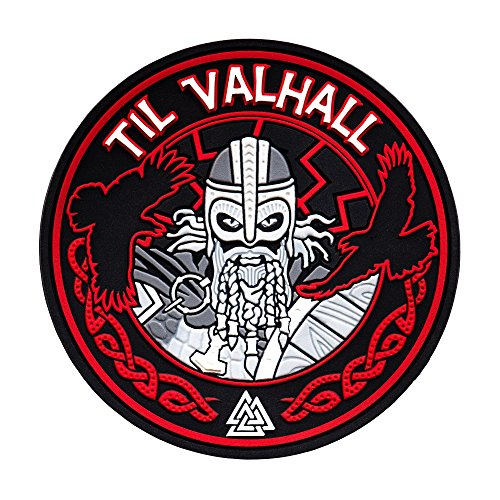 Til Valhall PVC 3D Patch Viking Military & Tactical Army Morale Hook and Loop (Red) - Framed Badge