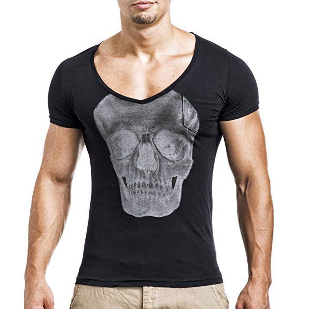 SUMTTER Uomo Maglietta Top T Shirt Camicia Camicetta Blusa Maschi Manica Corta