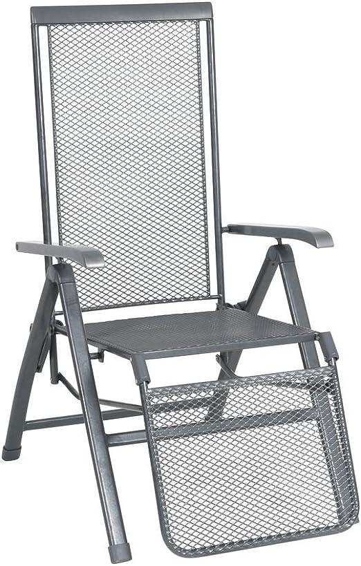 greemotion Relaxsessel Toulouse Premium eisengrau, Stuhl mit 5 fach verstellbarer Rückenlehne und Fußteil, kunststoffummanteltes Stahlgestell,