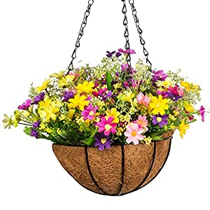 Silk Flower Arrangements Mixiflor Artificial Daisy Flowers, Artificial Hanging Planets Silk Flower. Hanging Basket with Chain Flowerpot for Home Outdoor Decoration
