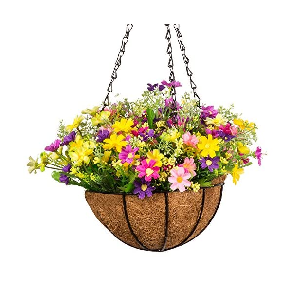Mixiflor Artificial Daisy Flowers, Artificial Hanging Planets Silk Flower. Hanging Basket with Chain Flowerpot for Home Outdoor Decoration