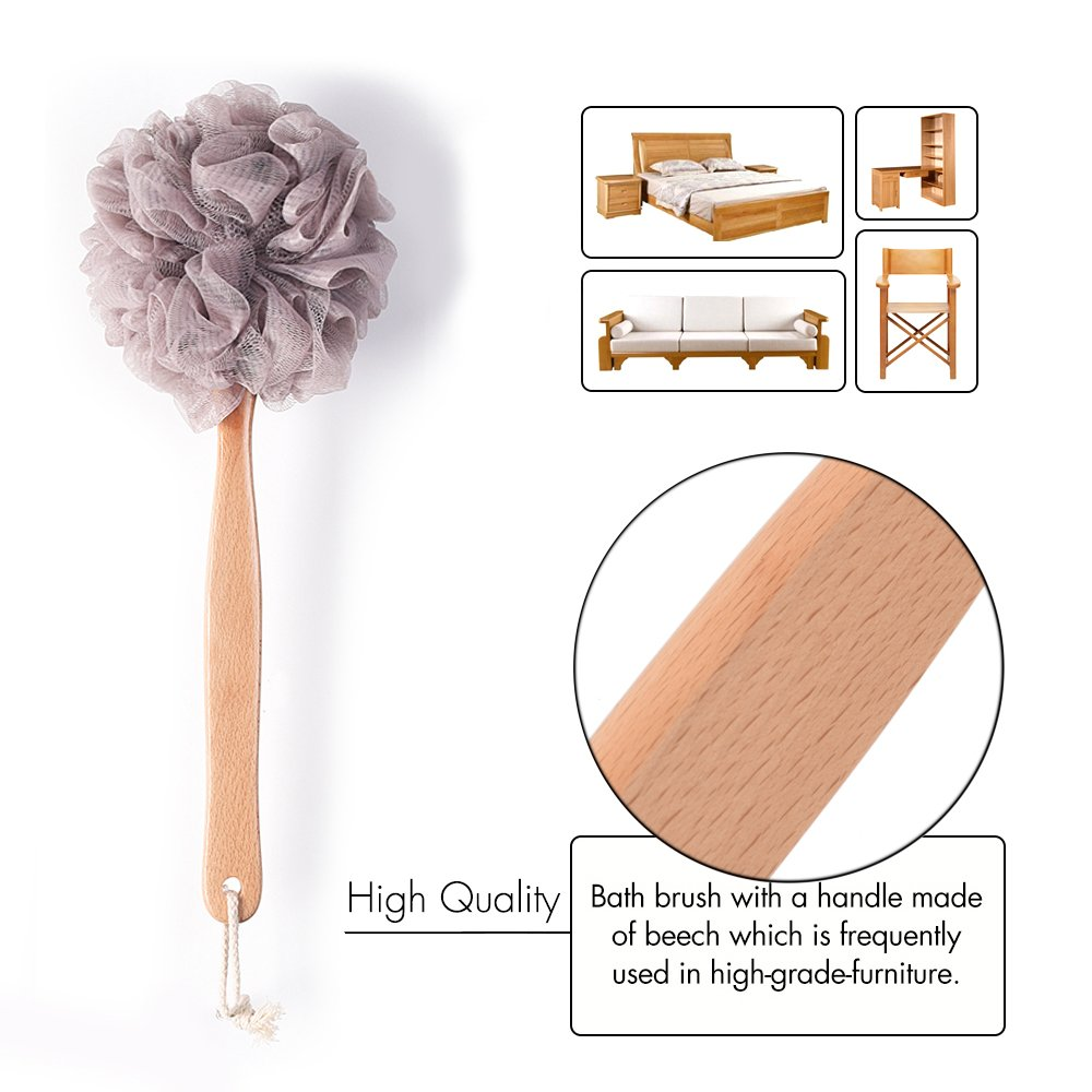 Bath Sponge & Brush Long Handled Loofah Back Scrubber Shower & Bath Exfoliating Pouf Scrubber on a Stick Body Back Brush with a Wood Handle Loofah Mesh for Men & Women By Krramel (PURPLE)