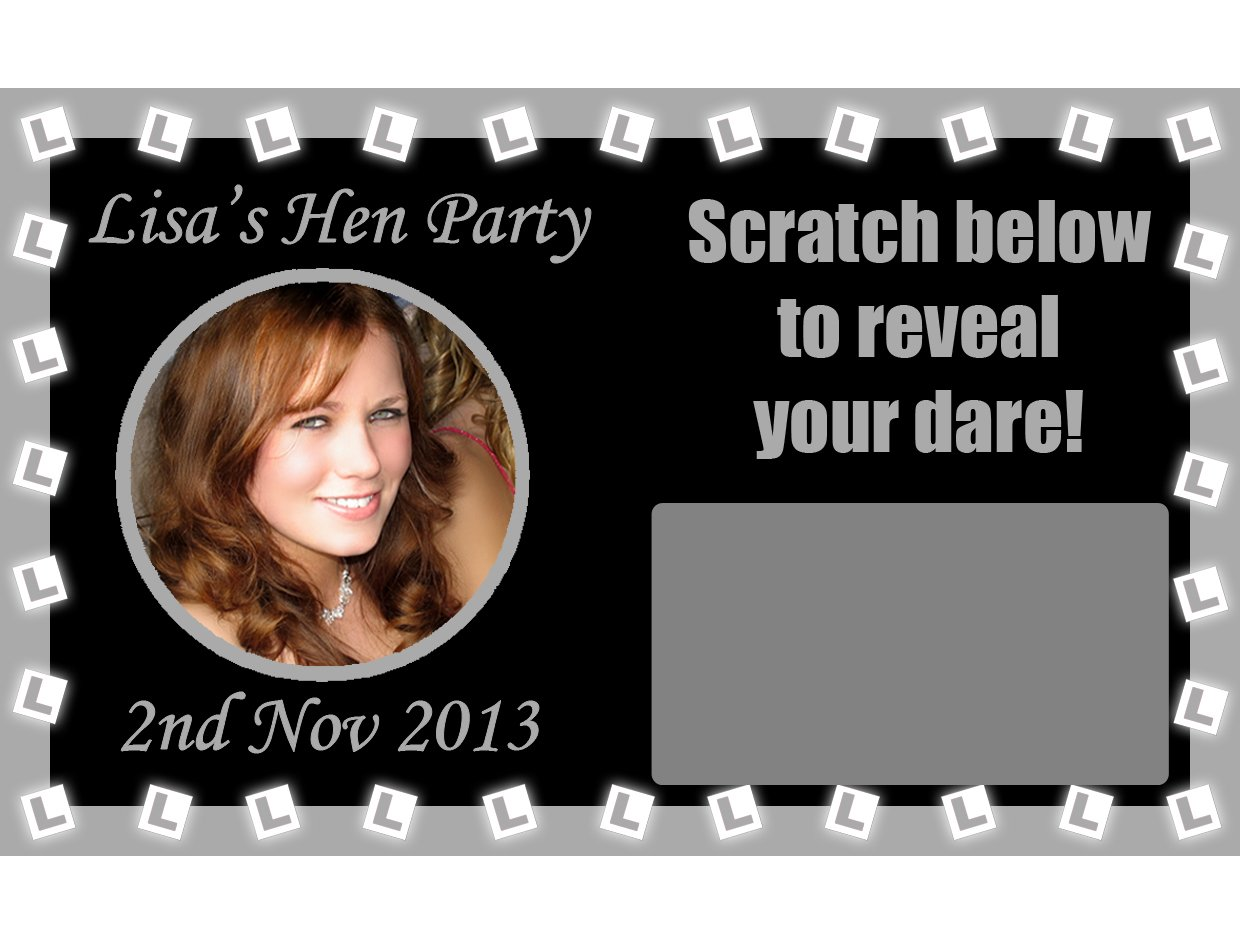 10 x Personalised L-Plates DARE Photo SCRATCH CARDS Hen Night Do Party Fun Game