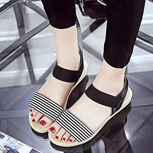 bescita Frauen Streifen Sommer Böhmen Süße Sandalen Clip Toe Sandalen Badeschuhe (36, Schwarz)