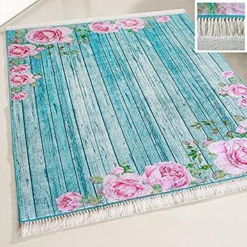 Amazon De Mynes Home Teppich Turkis Waschbar Shabby Chic