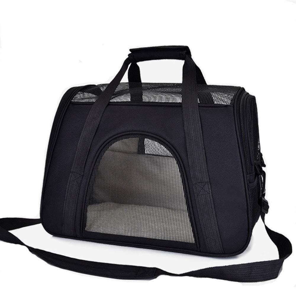 Black Pet Handbag Dog Cat Out Portable Breathable Travel Bag AntiCatch Dog Cage,bluee