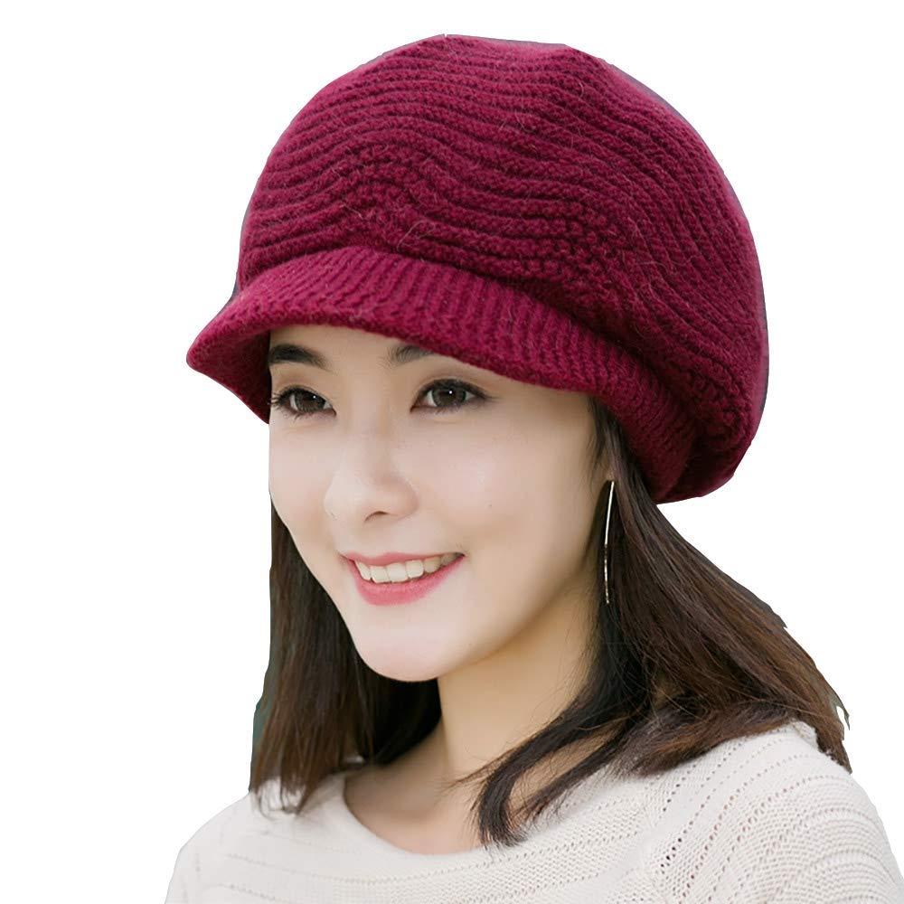 9c03336032be2 Flammi Women Knit Hat with Visor Warm Lined Snow Ski Cap Warm Beret Cap  (Wine Red)