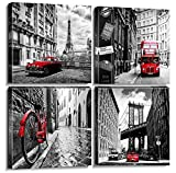 """Wall Art Canvas Prints Home Decor Posters 4 Pieces Framed Black White Red Pictures Photos Painting City Buildings Homes Office Decorations Modern Artwork Living Room Bathroom Ready to Hang 12 × 12"""""""