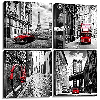sunfrower Modern City Landscape Poster Wall Art Decor Canvas Prints Home Bathroom Decor Framed Black and White Pictures Red City Buildings Photo Office Paris Artwork Painting 12 × 12 inches 4pcs