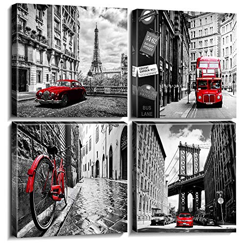 Wall Art Canvas Prints Home Decor Posters 4 Pieces Framed Black White Red Pictures Photos Painting City Buildings Homes Office Decorations Modern Artwork Living Room Bathroom Ready to Hang 12 - Wall White Pictures And Black
