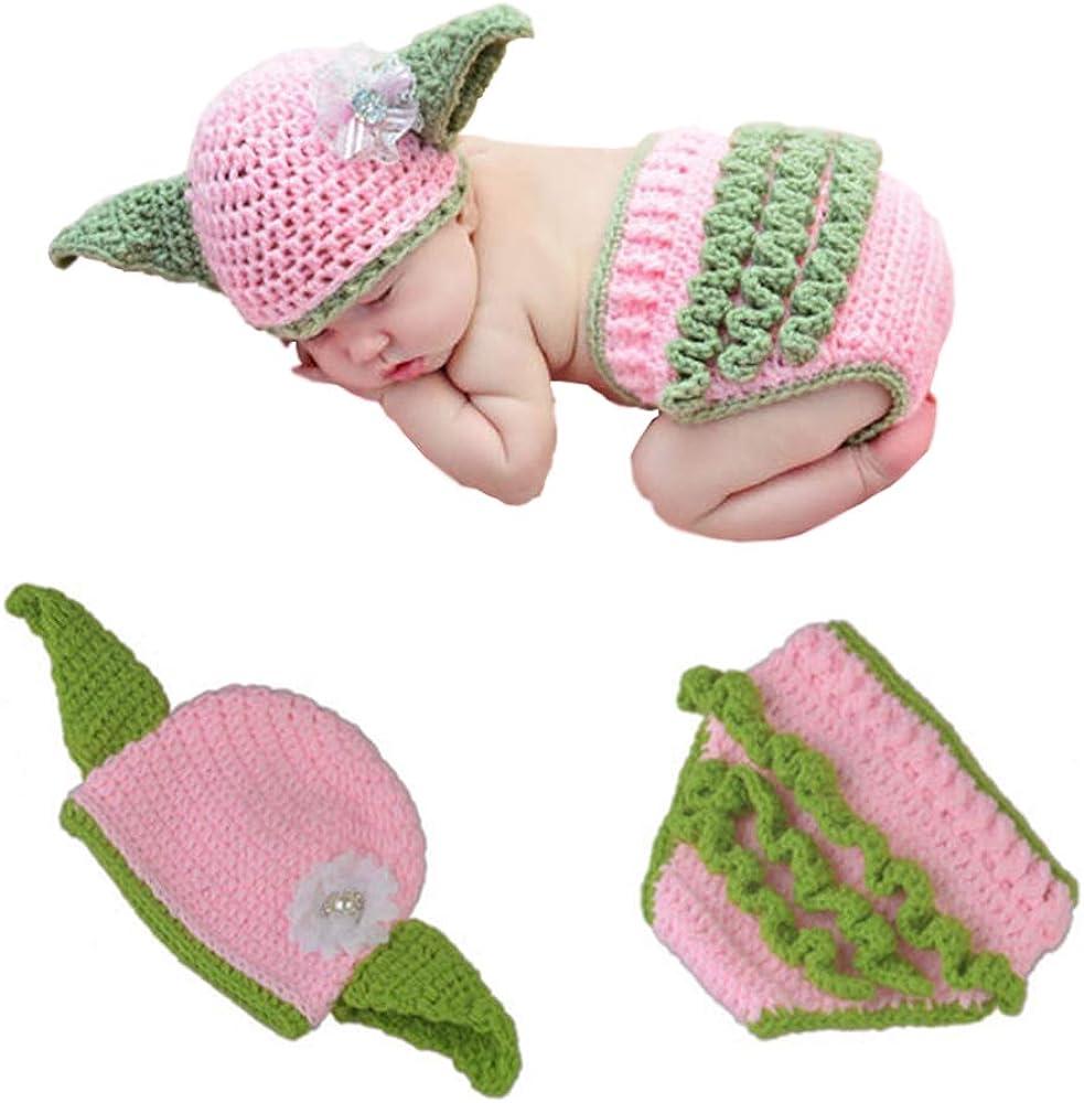 APRILALEX Newborn Infant Baby Photography Prop Crochet Knit Hat Diaper Costume Set Handmade Cap Outfits Clothes Hat