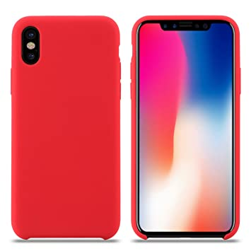 Funda iPhone XS, Carcasa Silicona iPhone XS, Líquido Silicona Gel Caucho A Prueba de Golpes con Suave Almohadilla de Forro de Tela de Microfibra para ...
