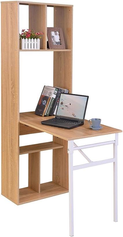 Yontree - Estantería con escritorio plegable: Amazon.es: Hogar