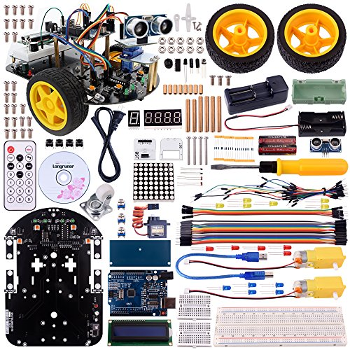 Longruner Arduino Project Smart Robot Car Kit with Two-wheel Drives Intelligent Robotics DS Educational Car for Teens and Adults (robot car kit)