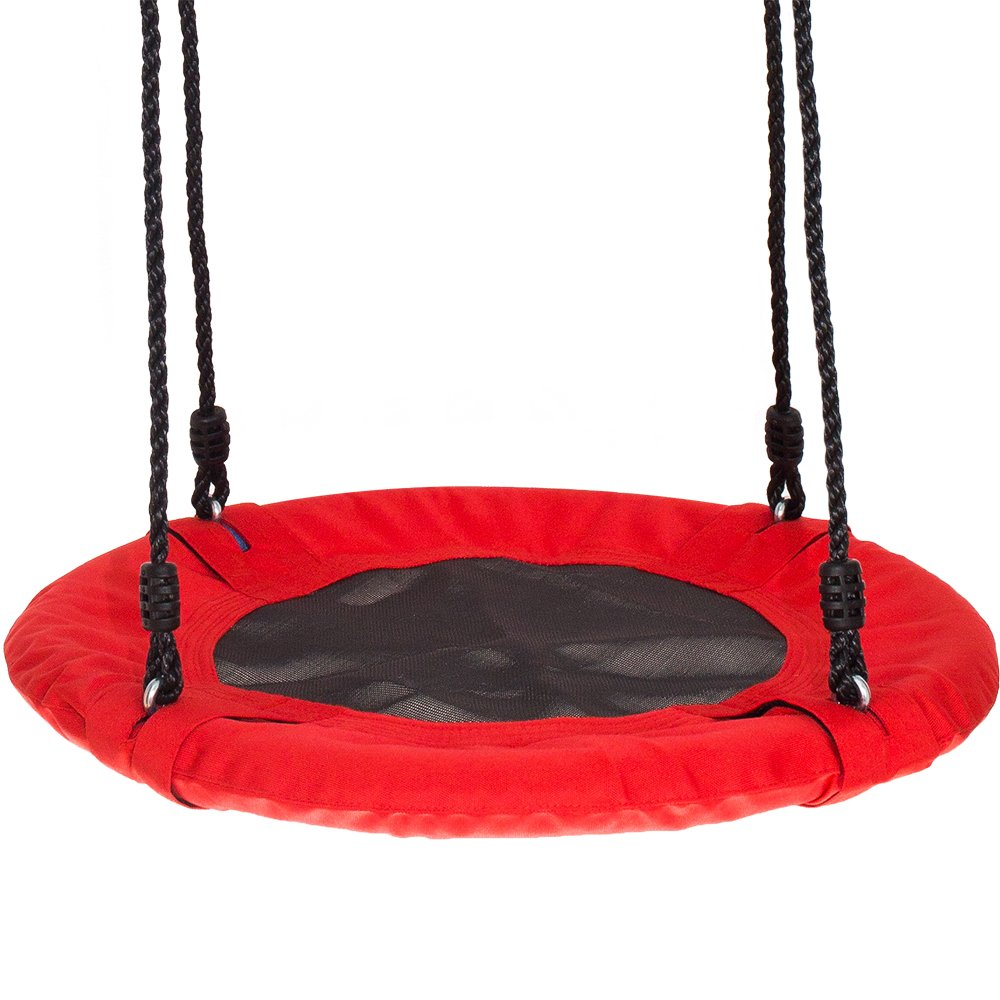 Swinging Monkey Products Fabric Saucer Spinner Swing, Red or Gray - Fun! Easy Install on Swing Set or Tree, Nylon Rope with Padded Steel Frame by Swinging Monkey Products (Image #1)