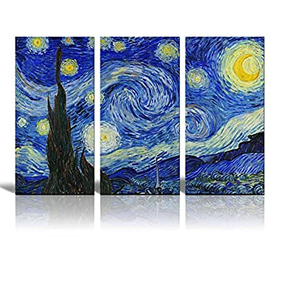 "Wall26 - Starry Night by Van Gogh - Canvas Art Wall Decor - 36""x18"" x 3 Panels - High quality printed canvas stretched and stapled to durable shrink resistant frames. 1.50"" thick stretcher bars for gallery quality profile. Canvases are printed and hand stretched in the USA by professionals. - wall-art, living-room-decor, living-room - 61s7%2BpYVguL. SS400  -"