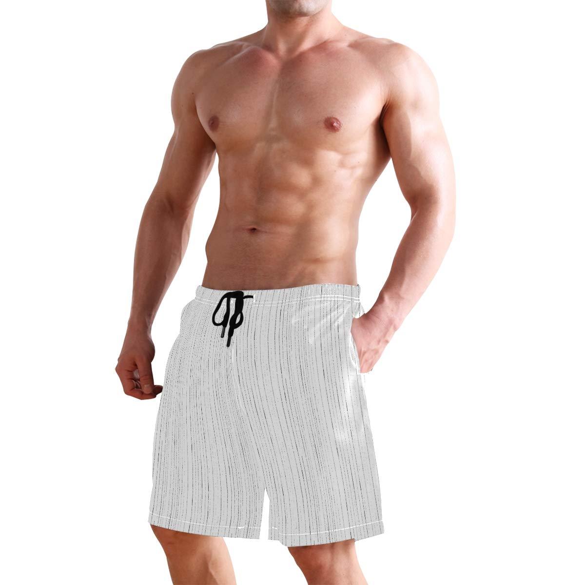 Black Lines Striped Decoration Mens Fashion Casual Classic Beach Shorts Quick-Dry Gym Adjustable Drawstring Shorts Yoga