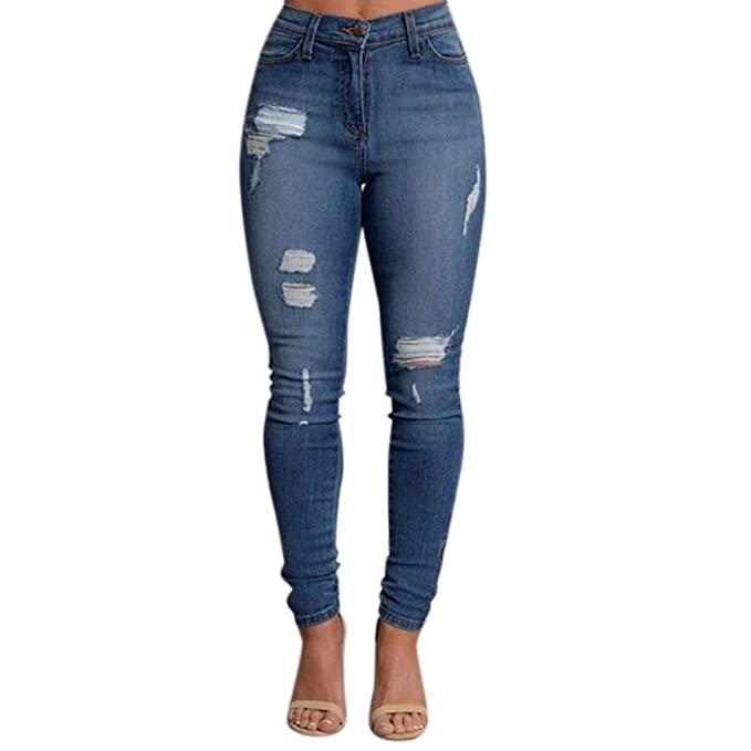 BIRAN Pantalones Vaqueros Pitillo De Mujer Cintura ...