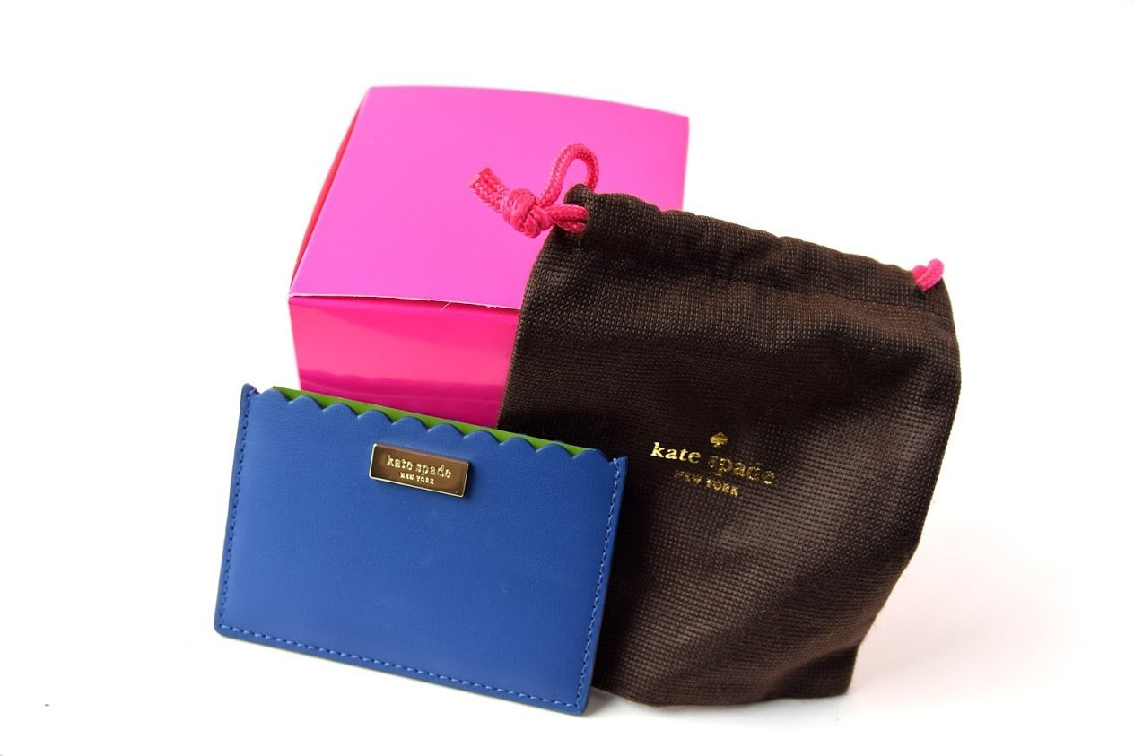 Kate Spade Maple Court Graham Hyacinth Blue Card Case With Fuchsia Gift Box