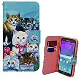 Xtra-Funky Exclusive Samsung Galaxy Note 4 PU Leather Wallet Case with Kittens