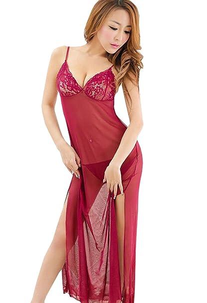 Dame-reizvolle Wäsche-Kleid-Spitze-bloßes langes Kleid Sleepwearrobe ...