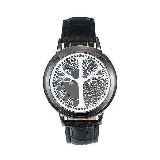 Creativo Personalidad Minimalista Cuero Normal Impermeable Reloj LED Hombres y Mujeres Pareja Reloj Inteligente electrónico Relojes Casuales Reloj Caballero ...