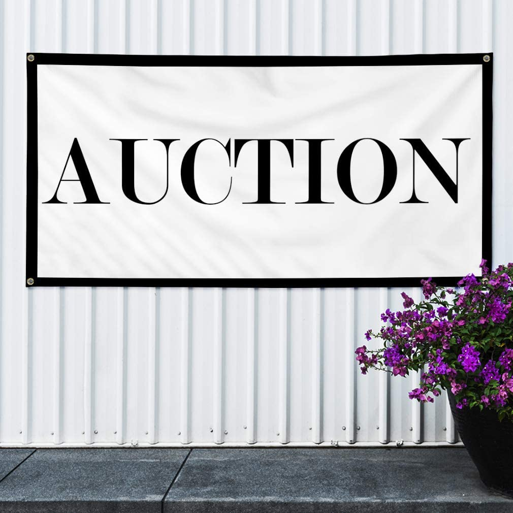 Set of 2 32inx80in Vinyl Banner Sign Auction #1 Style M Business Negotiate Marketing Advertising White 6 Grommets Multiple Sizes Available