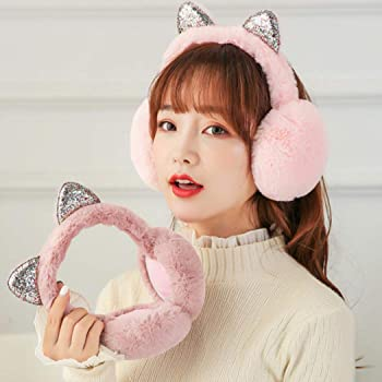 MIUNIKO Women Girls Holiday Winter Outdoor Sports Lovely Cartoon Plush Cat Ear Covers Warmers Earflap Headband Earmuffs