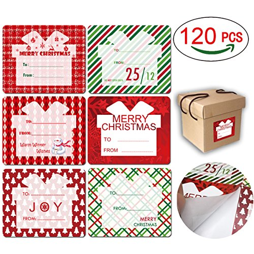Cualfec 120 Pcs Jumbo 3 x 4 Inches Tag Stickers Self Adhesive 6 Designs Special for Xmas Gift Boxes and Bags]()