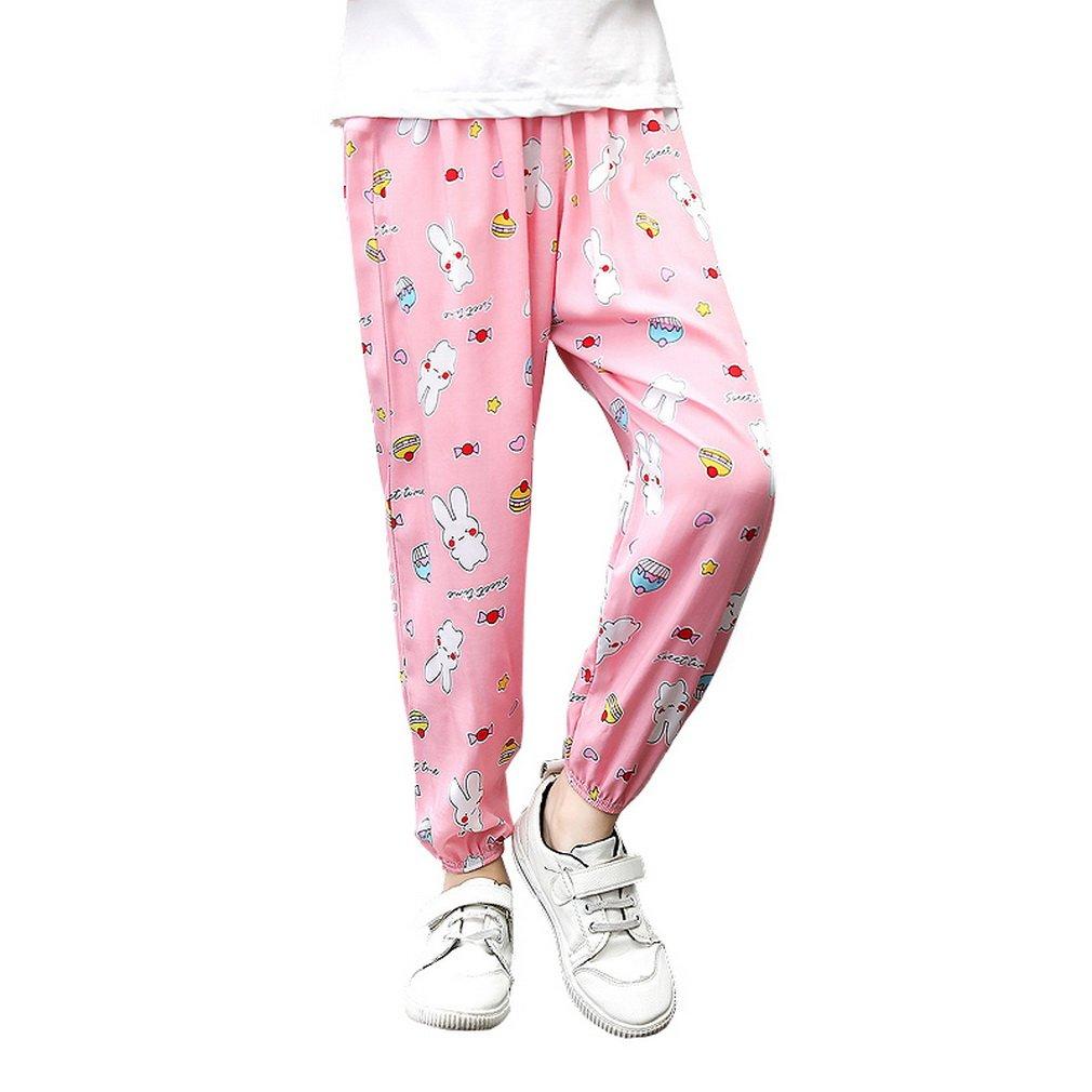 COMVIP Boys Girls Rabbit Summer Sport Jogger Trouser Loose Harem Pants Pink 110